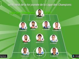 Le XI idéal de la 6e journée de la Ligue des Champions. BeSoccer