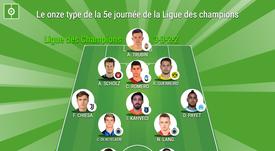 Le XI type de la 5ème journée de la Ligue des champions. BeSoccer