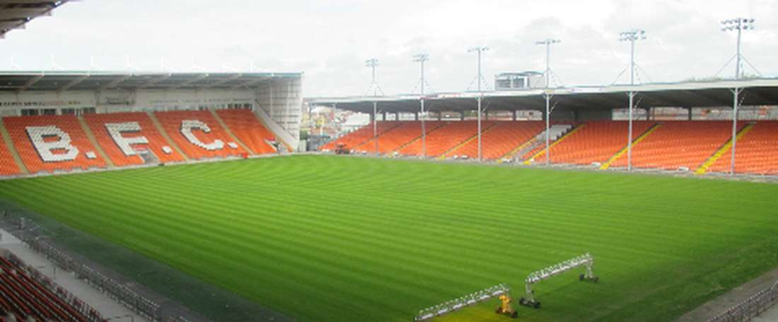 Blackpool's Bloomfield Road ground played host to the prank. BlackpoolFC