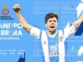 Leandro Cabrera rejoint l'Espanyol. Twitter/RCDEspanyol
