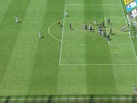Leandro Carvalho marca gol olímpico pelo Ceará contra o Corinthians. Captura/GloboEsporte