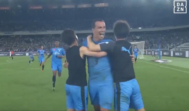 El Kawasaki Frontale venció por 1-0 al Chelsea gracias a Leandro Damiao. Captura/DAZN