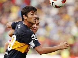 Leandro Marín, en un encuentro con Boca Juniors. Twitter