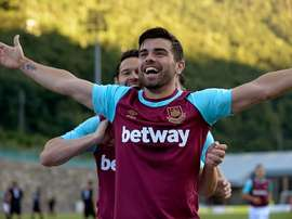 Lee celebra un gol con el West Ham. Twitter