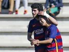 Seung Lee anotó el segundo tanto del Juvenil ante el Espanyol. FCBarcelona