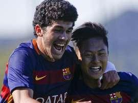 Lee y Aleñá, dos jugadores fundamentales para el pase a cuartos del Barça en la Youth League. Twitter