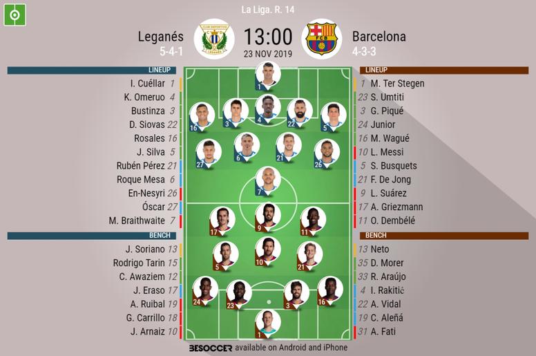 Leganés v Barcelona. La Liga 2019/20. Matchday 14, 23/11/2019-official line.ups. BESOCCER