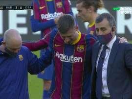 Clément Lenglet sort sur blessure contre Osasuna. Capture/DirecTVSports