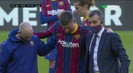 Lenglet went off injured against Osasuna. Screenshot/DirecTVSports