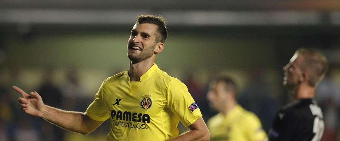Leo Baptistao celebra su tanto, el único anotado por el Villarreal al Viktoria. Twitter