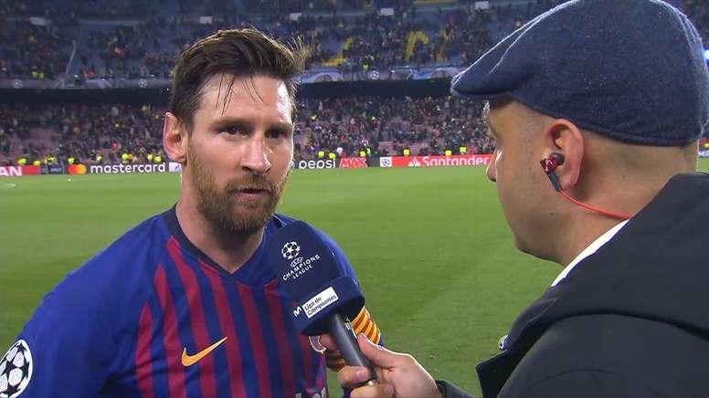 Messi a parlé au sortir du match face à Manchester United. Capture/Movistar