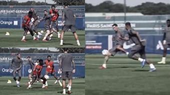 Messi encontró a Di María en un gran en el entrenamiento. Captura/PSG_Inside