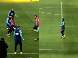 Messi trains ahead of Bilbao match. Screenshots/RFEF