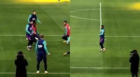 Messi treina em grupo e pode estar na final. Capturas/RFEF