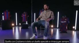Messi não se esquece de Cristiano. Captura/DAZN