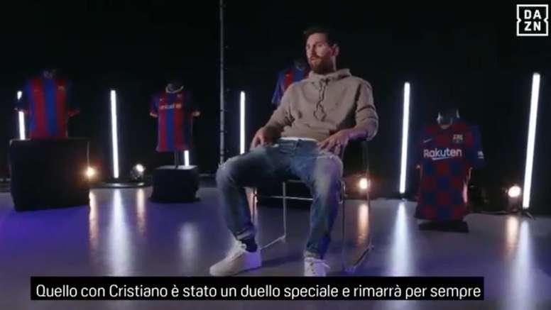 Messi sente la mancanza di Ronaldo. Captura/DAZN