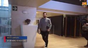 Las cámaras siguen a Leo. Captura/FCBarcelona