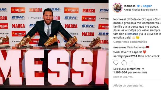 Messi es el jugador que más Botas de Oro tiene. Instagram