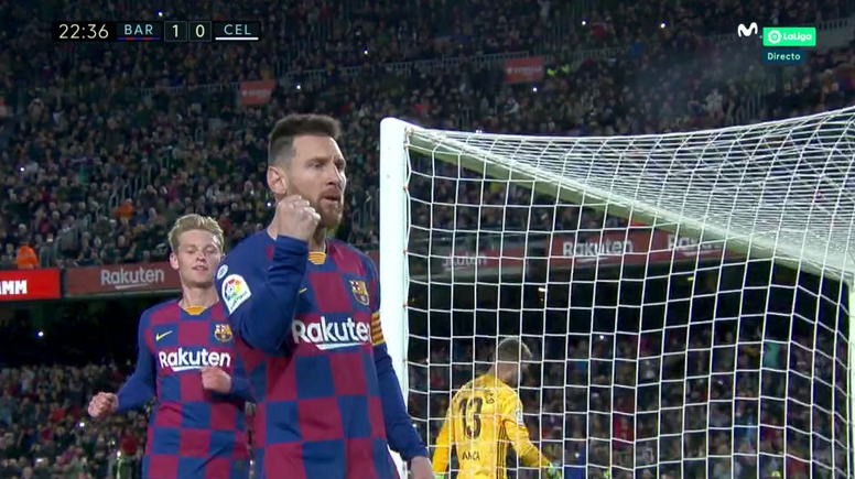 Leo Messi ouvre le score sur penalty contre le Celta. Capture/MovistarLaLiga