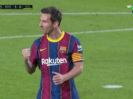 Messi got his first goal of the season. Screenshot/MovistarLaLiga