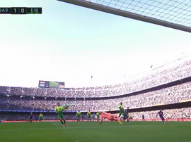 Messi gave Barca en early lead v Eibar. Captura/MovistarLaLiga