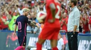 Leo Messi, n'a pas pu faire mieux face au Liverpool. EFE