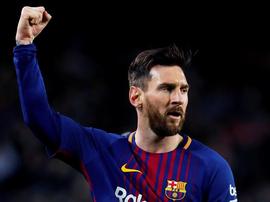 Messi marcou os três golos desta partida do Barcelona.EFE