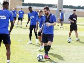 Messi s'entraîne avec le groupe avant le voyage à Dortmund. Twitter/FCBarcelona_es