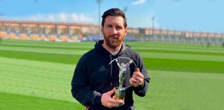 Messi recibió el Laureus al deportista del año. Instagram/leomessi