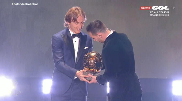 Modric's words to Messi after Ballon d'Or win. Captura/GOL