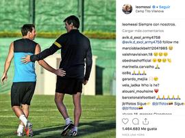 Messi subió la foto con Vilanova. Instagram/leomessi
