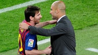 Guardiola espera que sus hombres tengan que enfrentarse a Messi. AFP
