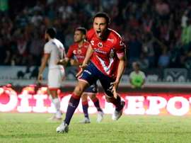 Leobardo López celebra su tanto, el tercero en la victoria de Veracruz ante Toluca por 3-2. ClubTiburonesRojos