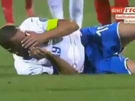 Karapetian n'a pas aimé la simulation de Bonucci. Capture/L'Équipe.