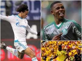 Leroy Sane (L) Gabriel Jesus (upper right) and Marlos Moreno (lower right). EFE/Palmeiras/EFE/APA