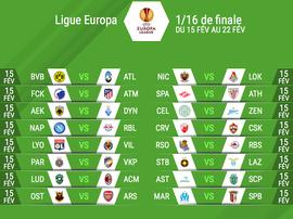 Les affiches des seizièmes de finale de Ligue d'Europa League. EFE