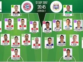 As escalações de Bayern Munique e Anderlecht, respetivamente, para esta partida da Champions. BS