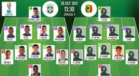 Official lineups of the U17 World Cup match between Brazil and Mali. BeSoccer