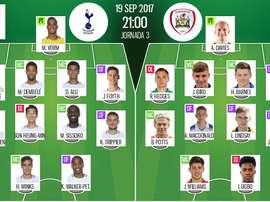 Les compos officielles du match d'EFL Cup entre Barnsley et Tottenham. BeSoccer