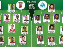 Les compos officielles du match d'Europa League entre Braga et Marseille. BeSoccer