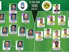 As escalações de Atalanta e Borussia Dortmund para este jogo. Besoccer