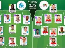 es compos officielles du match d'Europa League entre l'Olympique de Marseille et Oostende. BeSoccer
