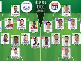 As escolhas iniciais de Apollon e Lyon, respetivamente, para este jogo da Liga Europa. BeSoccer