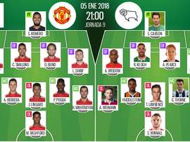 Les compos officielles du match de Coupe d'Angleterre entre Man United et Derby County. BeSoccer