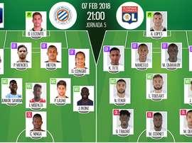 As escolhas iniciais de Montpellier e Lyon para este jogo. BeSoccer