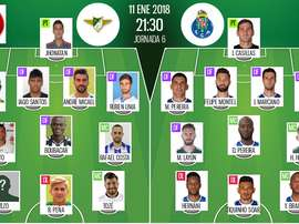 Les compos officielles du match de Coupe du Portugal entre Moreirense et Porto. BeSoccer