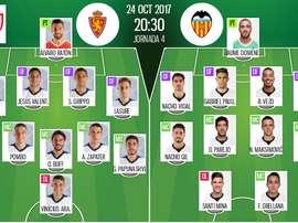 Les compos officielles du match de Coupe du Roi entre le Real Saragosse et Valence. BeSoccer
