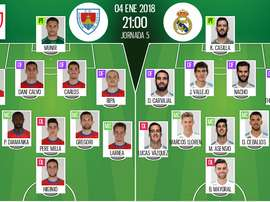 Official lineups Numancia-Real Madrid. BeSoccer