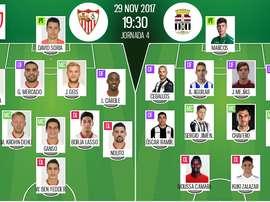 Les compos officielles du match de Coupe du Roi entre Séville et Carthagène. BeSoccer