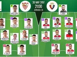 Les compos officielles du match de Liga entre Séville et Osasuna Pampelune. BeSoccer
